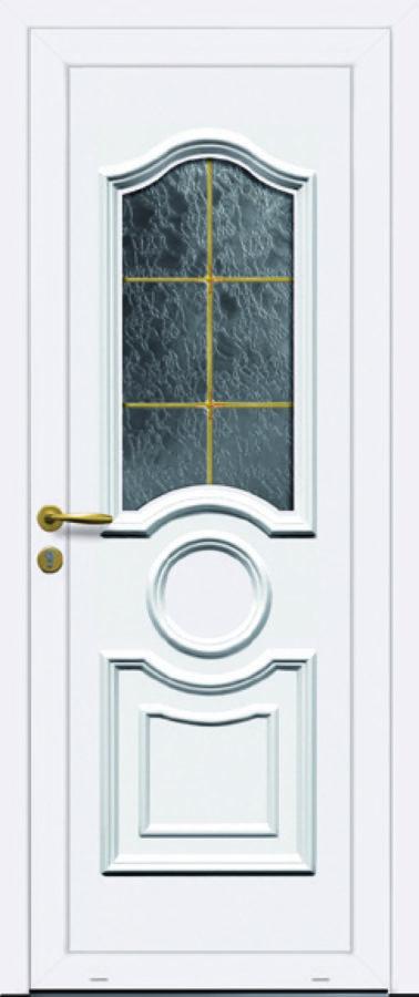 Porte d'entrée PVC avec touche dorée