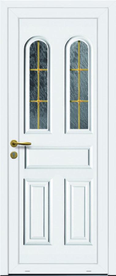 Porte d'entrée PVC double vitre arrondie