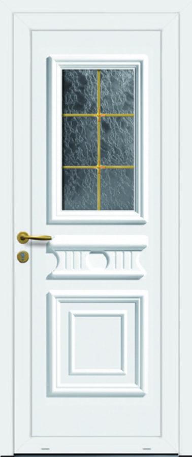 Porte PVC rénovation avec vitre carrée