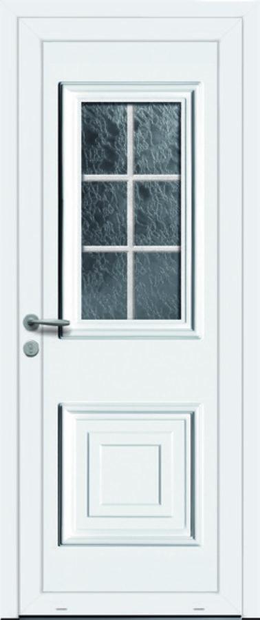 Porte PVC classique avec vitre carrée