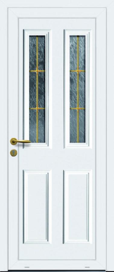 Porte d'entrée PVC avec croisillon or