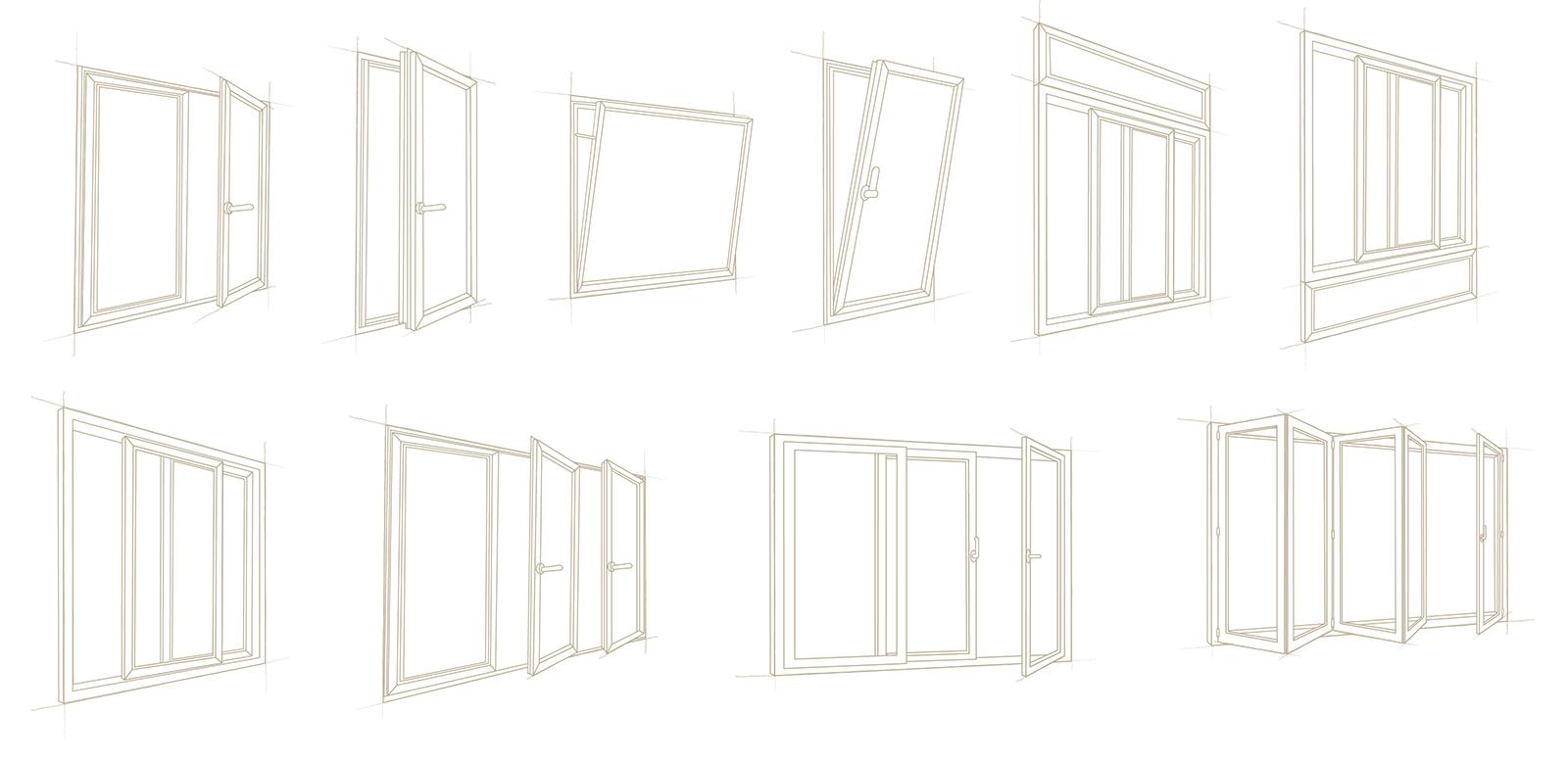 Type ouverture fenêtre PVC / ALU