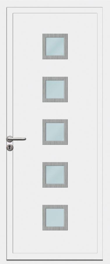 Porte d'entrée PVC avec cinq carreaux vitrés