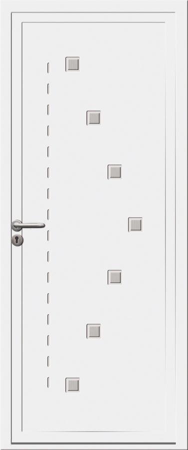 Porte d'entrée PVC avec petits carrés
