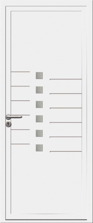 Porte d'entrée PVC avec traits et carrés